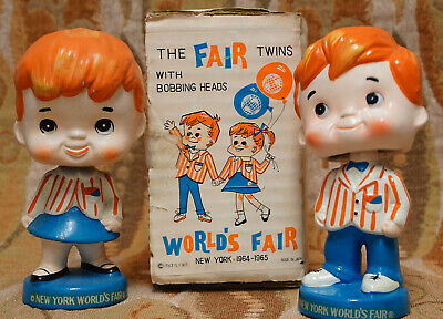 1964 World's Fair Twins Bobble Head Set with An Original Box Top Condition