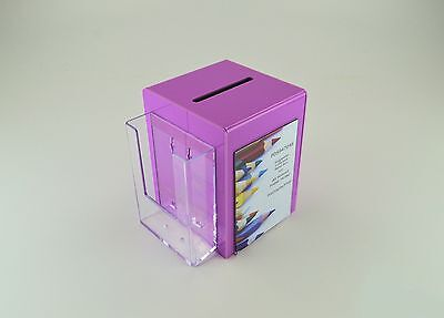 Business Card Collection / Suggestion Box with Holder PDS9470A6 Raspberry Pink
