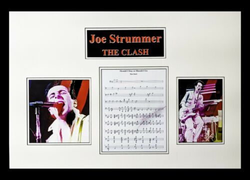 Joe Strummer-The Clash Autographed Sheet Music Matted and Framed Ready to Hang