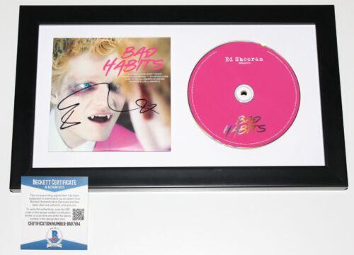 ED SHEERAN SIGNED FRAMED 'BAD HABITS' SINGLE CD COVER BOOKLET BECKETT COA BAS