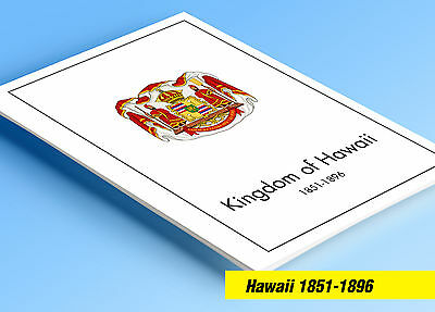 COLOR PRINTED HAWAII [KINGDOM] 1851-1896 STAMP ALBUM PAGES (6 illustrated (Printed Stamp)