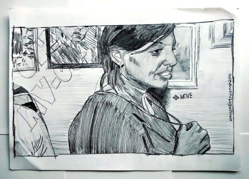 Danor Shtruzman Drawing Art - Israeli Girl In A Night Club , Holding My Heart