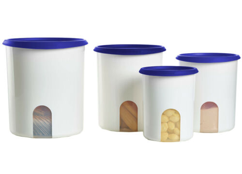 Tupperware One Touch Reminder Canister Container 4-piece Set w/Blue Seals New!