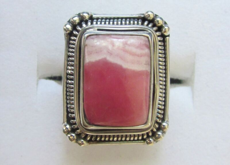 Rhodochrosite Ring in Sterling Silver, sz 6.5