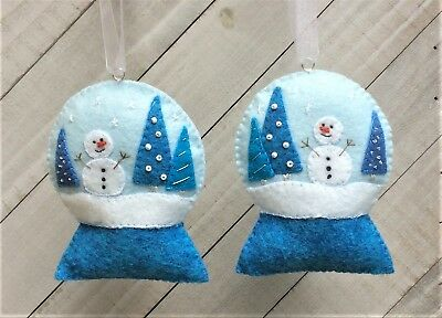 Christmas Ornament Felt Embroidery Kit Snowglobe in Blues Snowman Trees  Makes 2