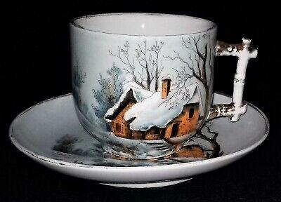 (Mustache CUP & SAUCER, porcelain, Germany, Vict Stick style, cottage snow scene)