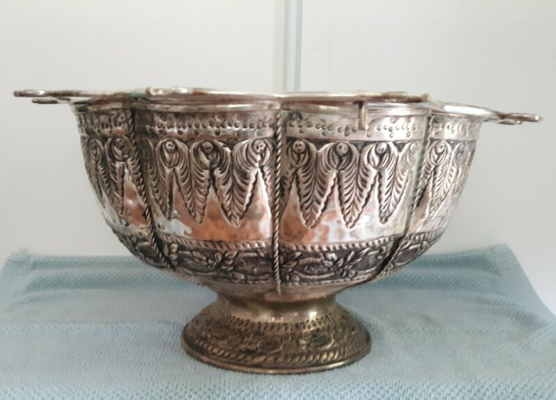 NICE Silver Plate Champagne Cooler / Punch Bowl w/Stemware Holder