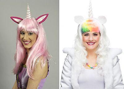 Perücke Einhorn pink rosa weiß für Kostüm Märchen Fantasy Fabelwesen Karneval