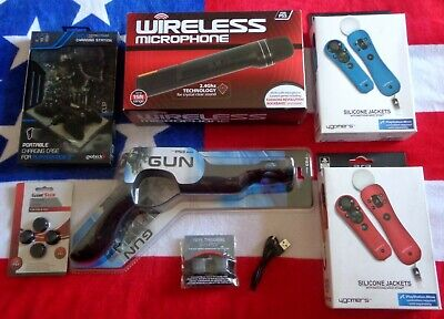PS3Move GUN, Wireless MICROPHONE, Ammo CHARGER, + More... BUNDLENEW89