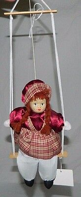 "Hanging Porcelain Girl Doll 8"" Sitting On A Swing 16.25"" Min"