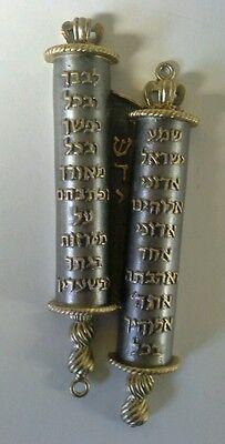 "Mezuzah- Brass TORAH SCROLL (5"")BEAUTIFUL! w/Hebrew Torah scroll portion"