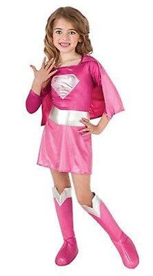 Supergirl Child's Costume Pink Size Medium w/Stick-on Nails](Stick Girl Costume)