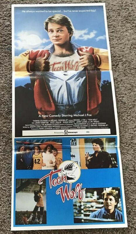 Original 1985 TEEN WOLF Australian Daybill Movie Poster, Folded, 13x26