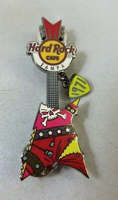 "Hard Rock Cafe Tampa Skull Funk Punk Guitar Dangling ""1971"" Pick Pin Limited 500"
