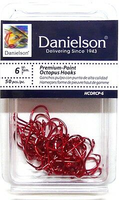 100 Danielson Hcorcp Red Chrome Octopus Fish Fishing Hooks Size 6  100 Hooks