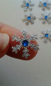 20 Handmade sparkling silver snowflake card toppers with sapphire gem christmas
