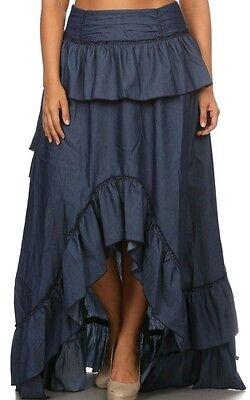 Blue 2 Denim Skirt - ⚡FLASH!!⚡SALE!!Women Dark Blue Denim Hilo Ruffle Skirt S M L 1X 2X 3X
