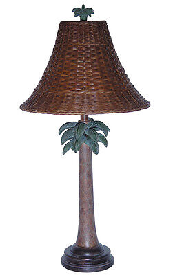 Tropical Table Lamp Palm Tree Wicker Shade 32