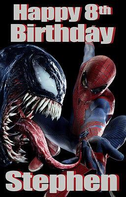 SPIDERMAN VENOM PERSONALISED BIRTHDAY LARGE DOOR - Venom Party Supplies
