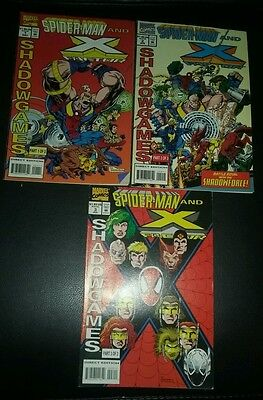 *SPIDER-MAN AND X-FACTOR SHADOW GAMES #1-3 COMPLETE MINI-SERIES SET!