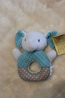 Babyrassel Elefant, 10 cm, blau, 100 % Polyester, Babyspielzeug
