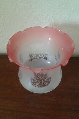 Antique Victorian style glass etched oil lamp/ light shade globe fluted edge