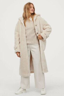 Abrigo H&M teddy oso de peluche con capucha Blanco Crema Talla M....