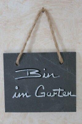 """Schiefertafel 12/10 cm mit Beschriftung """"Bin im Garten"""", Schild z. Aufhängen"""