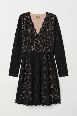 NWT - H&M Women's LACE Black LONG SLEEVE V-NECK LACE DRESS - 2