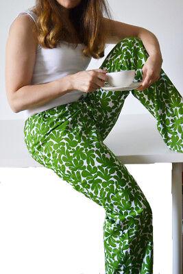 Handmade by Irena Adler women's PJ's Style Pants Cotton White/Green Print SizeSM