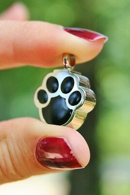Pet Cremation Jewelry Pendant Urn Holds Ash Paw Print Dog Cat Mens Unisex Child