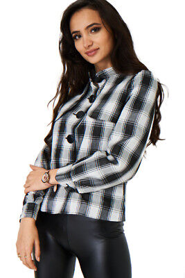 Q87 - Women's Ladies Girly Black White Checked Balloon Sleeve Jacket (S-2XL)](Combat Boots Girly)