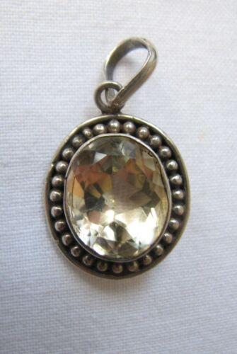 Vintage Silver Citrine Pendant Necklace