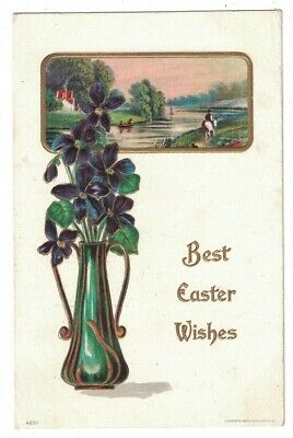 ANTIQUE 1910 BEST EASTER WISHES FLOWERS IN VASE PASTORAL SCENE EMBOSSED POSTCARD