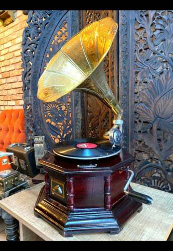 HMV Gramophone Antique Fully Funtional Working Fhonograpf Win-Up Record Player