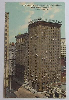 1914 Postcard North American   Real Estate Trust Buildings Broad St Philadelphia