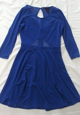Womens juniors Material Girl blue dress w/ mesh detail. Size M. Back cut out.