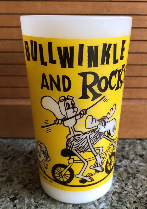 Vintage 1969 Rocky & Bullwinkle White Milk Drinking Glass - 12 oz