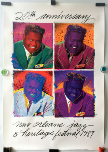 NEW ORLEANS JAZZ FESTIVAL 1989_20 YR. ANNIV. POSTER_FATS DOMINO_LIMITED EDITION
