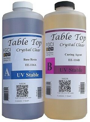 Epoxy Table Top Resin 2 Quart Kit Crystal Clear Includes Part A B 135370