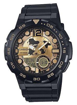 Casio Watch * AEQ100BW-9AV Telememo 3D Dial Gold & Black COD PayPal