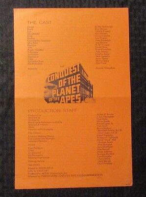 1972 Conquest Of The PLANET OF THE APES 2pg Synopsis Cast & Credits VG+