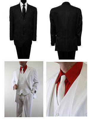 Men's Pinstripe Classic Fit Suit 3 Piece 3 Button Shadow Notch Lapel Gangster (Gangster Suits)
