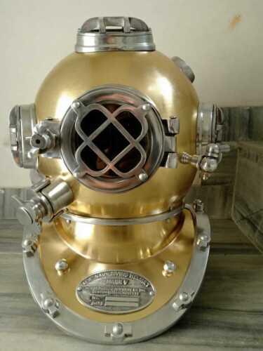 """Antique 18"""" Diving Vintage Copper MARK V U.S Navy Deep Sea Divers Helmet Replica"""