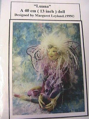 "FAIRY LUANA~Margaret Leyland  *RARE1999 OOP 13"" whimsical cloth art doll pattern"