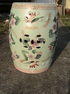 Antique Garden Stool (Antique/Vintage Chinese Hand Painted Lotus Flowers Porcelain Garden Seat Stool  )