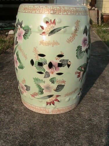Antique/Vintage Chinese Hand Painted Lotus Flowers Porcelain Garden Seat Stool