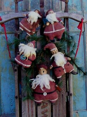Christmas Ornaments Sale (Primitive RETRO SANTAS Doll CHRISTMAS 5 ORNAMENTS Pattern YEAR END)