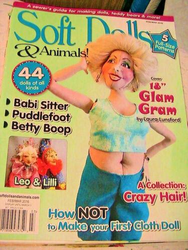 SOFT DOLLS & ANIMALS~Feb-Mar 2016 cloth doll patterns~techniques~tips magazine