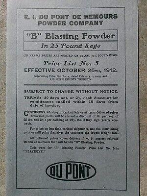 Vintage E  I  Du Pont De Nemours Powder Co  1912  B  Blasting Powder  Price List